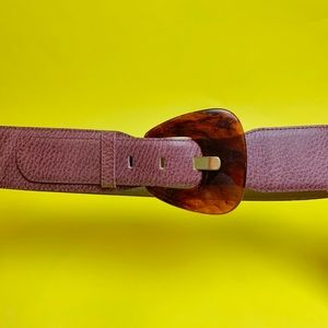 Vintage 80s mauve leather glam belt Small